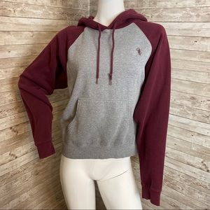 OBEY burgundy and grey pullover hoodie w pocket M